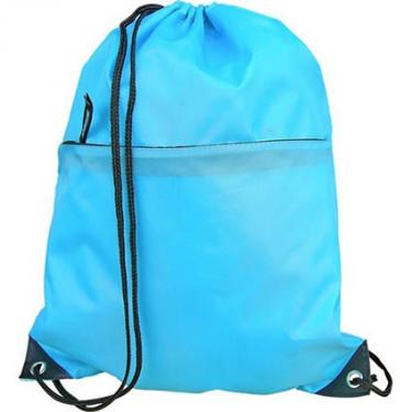 Polyester drawstring bag with zipper pocket